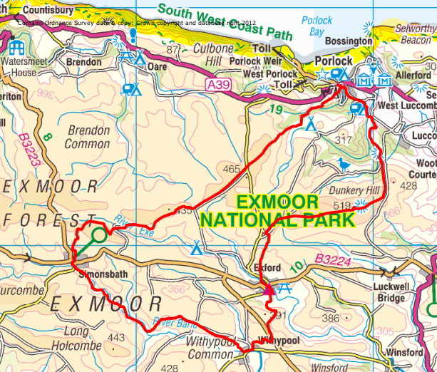 Route map of the Two Moors Way - Exmoor