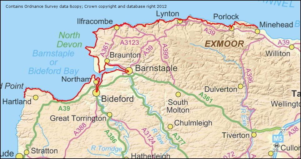 Map Of North Devon South West Coast Path   Somerset & North Devon | Westcountry  Map Of North Devon